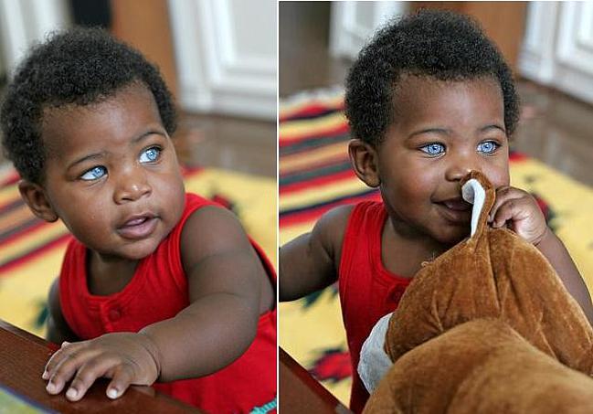 Black Baby Boy With Blue Eyes